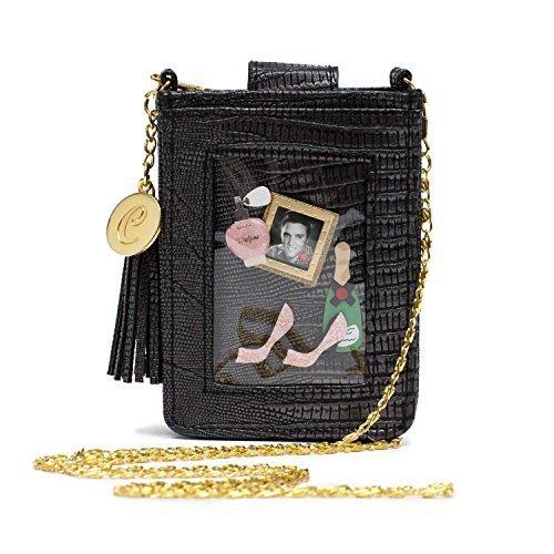 y London kleine, Schwarze Handytasche, lustig und stylish, in Krokodilleder-Optik, mit Goldkette und transparenter Kunststoff-Hülle für 1 Foto ()