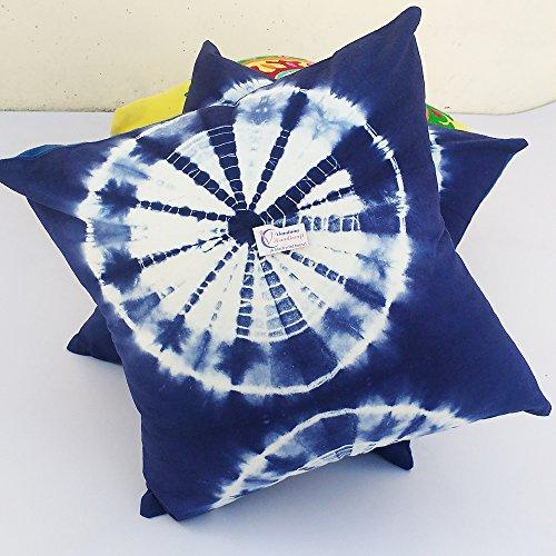Craftofpinkcity 2 pièces Tie Dye Housse de coussin Indigo teints Bleu indigo extérieur Housse de coussin 16 x 16, bohème couvertures d'oreiller