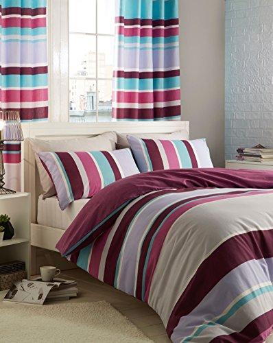 Catherine Lansfield Bettbezug-Set mit Streifenmuster, strukturiert, bunt (Multi Streifenmuster)