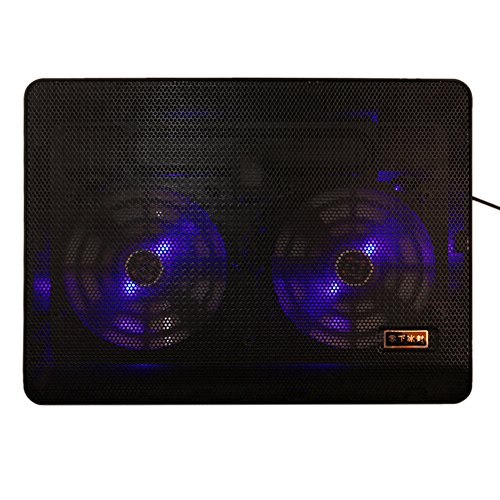 Price comparison product image Laptop Cooler Cooling Pad Ultra Slim Portable Chill Mat for 14 Inch Computer, Dual USB Ports with 2 LED Fans