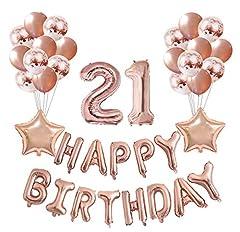 Idea Regalo - Compleanno Deco Set Numero 21 Palloncino Rosegold Girl, Compleanno Party Deco -2 Numero 21 Palloncino con elio gonfiabile + 13 Palloncini foil Happy Birthday + 20 Palloncino+ Palloncino 2 stelle