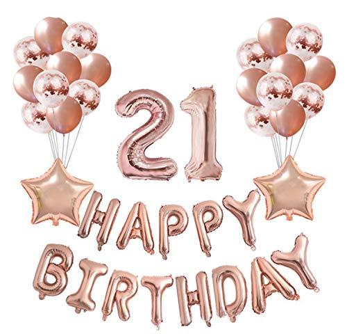 eko Set Nummer 21 Luftballon Rosegold Mädchen, Geburtstag Party Deko -2 Zahl 21 Aufblasbar Helium Folienballon+13 Happy Birthday Folienballon+ 10 Konfetti Ballon+ 2 Stern Ballon ()