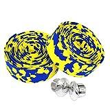 kingou Camouflage Eva pour vélo de route Guidoline Bar Wraps–2pièces par lot Bleu yellow&blue