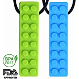 Sensory Soft Chew Necklace Set -Chewing Brick Kids,Boys And Girls-Designed -2 Colors In 2 Pack(Blue & Green)