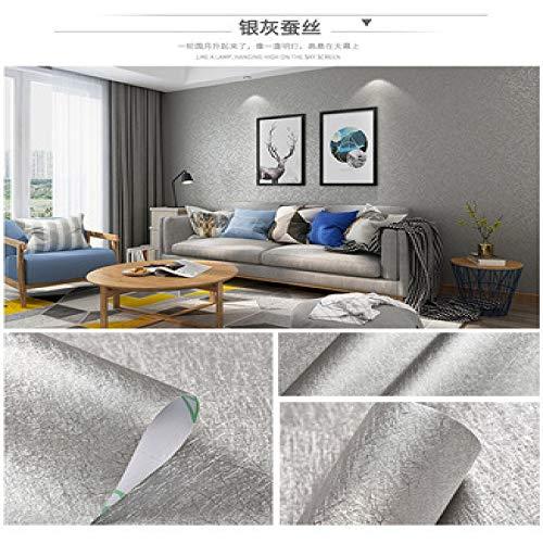 Carta da parati autoadesiva carta da parati di colore solido camera da letto caldo grigio decorativo adesivi di colore semplice argento seta