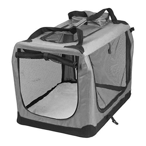 AVC Portable Soft Fabric Pet Carrier Folding Dog Cat Puppy Travel Transport Bag (Extra Large, Grey)
