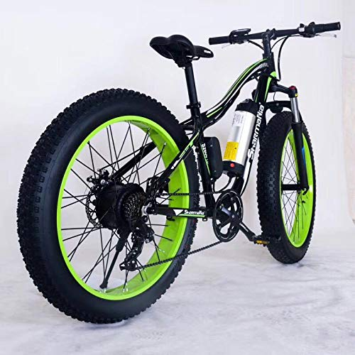 Link Co Freni a Disco Idraulici da 26 Pollici Bici elettrica 48V 10.4 Neve elettrica Bici da Corsa Shimano 21 velocità Spiaggia Cruiser e-Bike Batteria al Litio Freni Idraulici,Green