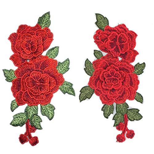 Vektenxi Premium Qualität 1 Paar Rote Rose Blumen Patch Gestickte Blumenapplikationen Nähen auf Flecken Für Spitze Stoff Kleidung DIY Handwerk Versorgung -