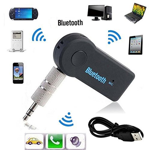 elepawl Bluetooth-Sender/Empfänger, tragbare Wireless Audio-Adapter mit 3,5 mm Stereo-Ausgang A2DP Musik-Streaming Auto-Kit für Auto AUX IN Home Lautsprecher MP3-Player mit integriertem Mikrofon (schwarz)
