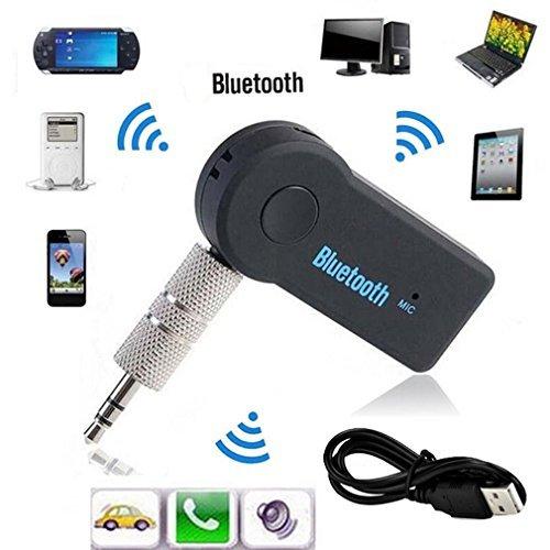 elepawl Bluetooth-Sender/Empfänger, tragbare Wireless Audio-Adapter mit 3,5mm Stereo-Ausgang A2DP Musik-Streaming Auto-Kit für Auto AUX IN Home Lautsprecher MP3-Player mit integriertem Mikrofon (schwarz)