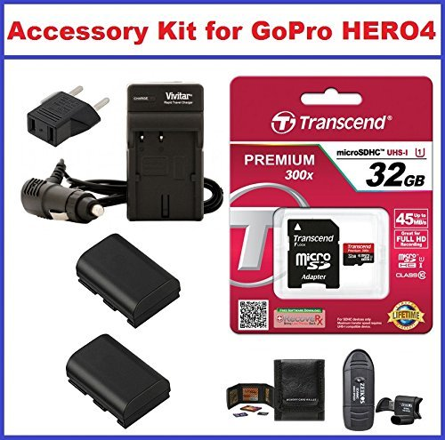 Accessory Kit for GoPro HERO4 Camcorder Includes: Transcend 32GB microSDHC Memory Card Premium 300x Class 10 UHS-I with microSD Adapter AC/DC Travel Charger with Batteries Card Reader and Memory Card Wallet  available at amazon for Rs.6268