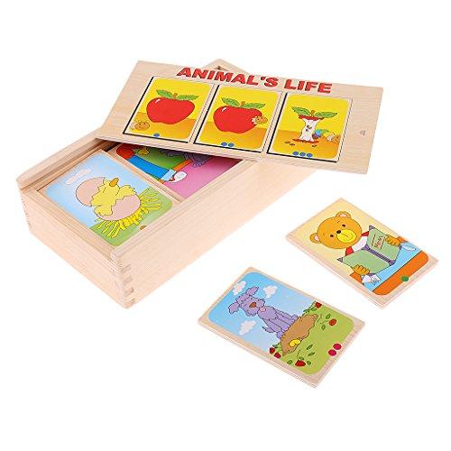 MagiDeal Montessori Jouets Educatifs en Bois Conter l'Histoire Selon Carte pour Développer Ordre Logique de Bébé Enfant
