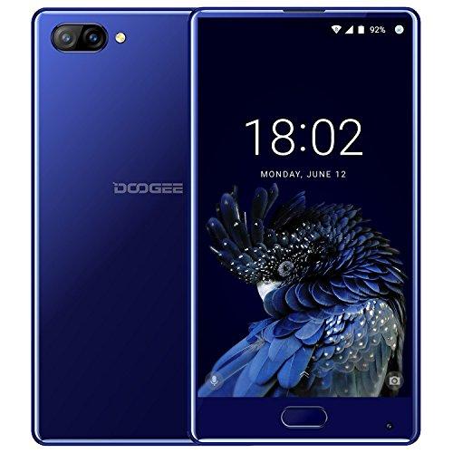 Smartphone Libre, DOOGEE MIX Moviles Libres Baratos, 4G Android 7.0 Telefonos - MediaTek Helio P25 2.5GHz - 5.5 Pulgadas AMOLED HD Pantalla - 4GB RAM + 64GB ROM - 8MP+16MP Cámara -Dual SIM - Batería de 5V 2A, 3580mAh - Huella Dactilar - (Azul)
