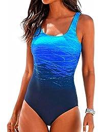 PAOLIAN Trajes de una pieza Bikini enteros sexy Mujer Verano 2018 Ropa de Playa Bañador espalda nadador Cruz de Ropa Impreso Gradiente Camisolas y pareos Ropa de Baño Deportes acuáticos