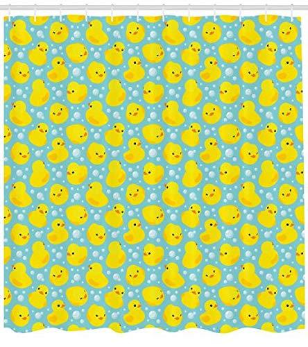 ABAKUHAUS Badeente Duschvorhang, Blasen Nette Enten, Seife Bakterie Schimmel und Wasser Resistent inkl. 12 Haken und Farbfest, 175 x 200 cm, Türkis Gelb Orange