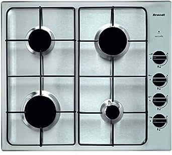 Brandt TE 1416 X plaque - plaques (Intégré, Gaz, Acier inoxydable, Acier inoxydable, Rotatif, En haut à droite)