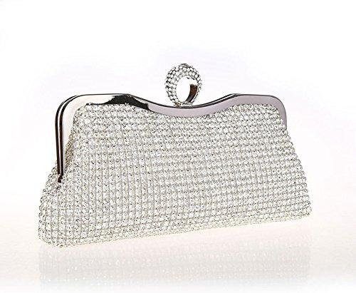 Sallyshiny-Borsa da donna, per abiti da sera con Cocktail Party Bags-Borsetta da matrimonio (argento)