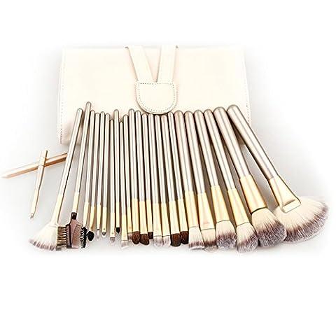 carsend Lot de 24pinceaux de maquillage professionnel manche en bois synthétique Premium Kabuki Fond de Teint Poudre Blush Liquide Visage Anti-cernes Estompeur Crème cosmétique Pinceau à lèvres outil Pinceaux Kit (Sac) couleur crème
