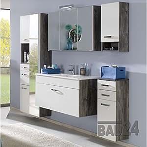 badezimmer m belset capri 6 tlg weiss eiche vintage inkl waschplatz und spiegel hochschrank. Black Bedroom Furniture Sets. Home Design Ideas