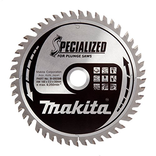 Makita B-09298 165 x 20 mm Specialized Circular Saw Blade for Plunge Saws with 48 Tooth - Red/Silver Test