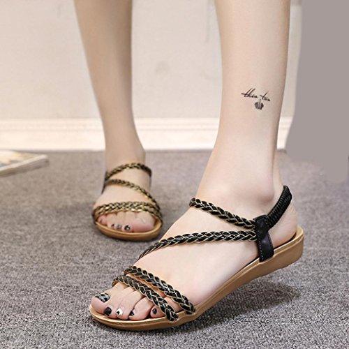 Transer ® Mode Fashion femmes Bohème loisirs plat sandales pour la maison de la plage Noir
