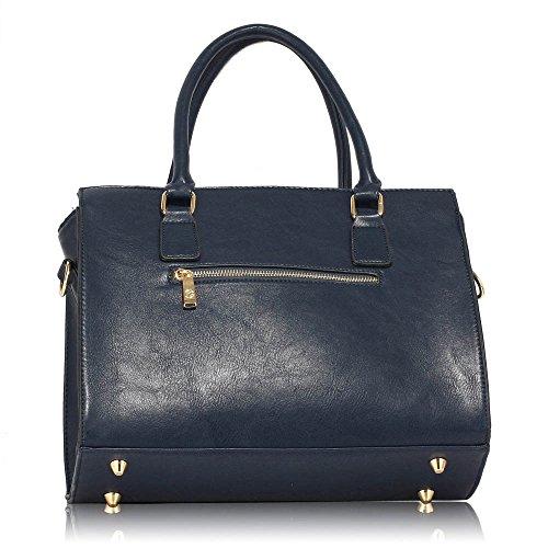 Frau Schulter Taschen Faux Leder Handtasche oben Griff Taschen zum Frau mit Gold Metall Arbeit lange Gurt Handtaschen und Polka Punkte Stoff innen Marine