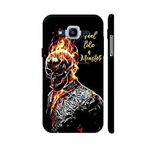 Colorpur Samsung J2 Pro Cover - Ghost Rider On Black Printed Back Case