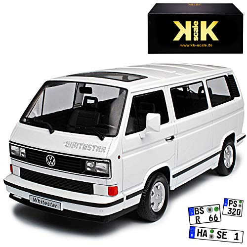 KK-Scale Volkwagen T3 Bus Multivan White Star Weiss Transporter 1979-1992 limitiert 1 von 500 Stück 1/18 Modell Auto mit individiuellem Wunschkennzeichen -