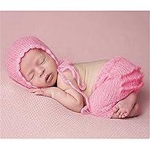 BINLUNNU bebé recién nacido fotografía apoyos niño Niña Gorro de Crochet ... bc3778ffd0e