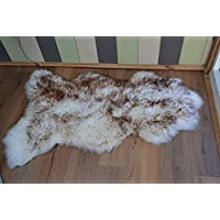 Meryno - White brown sheepskin rug natural soft carpet - x large