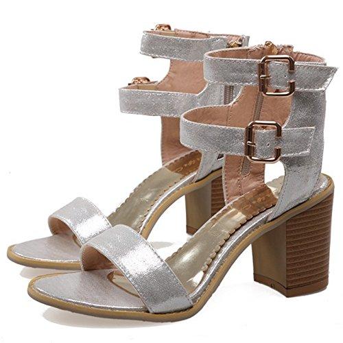 COOLCEPT Femmes Mode Cheville Sandales Orteil ouvert Bloc Chaussures With Fermeture eclair Argent