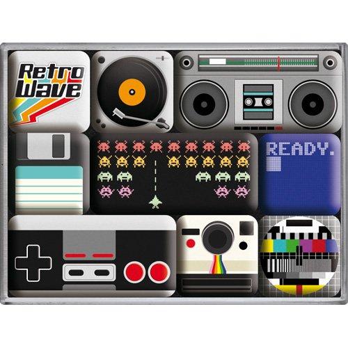 Nostalgic-Art 83070 Retro Wave - Retro Wave Media | Retro Magnet-Set (9teilig) | Kühlschrank-Magnete | Vintage