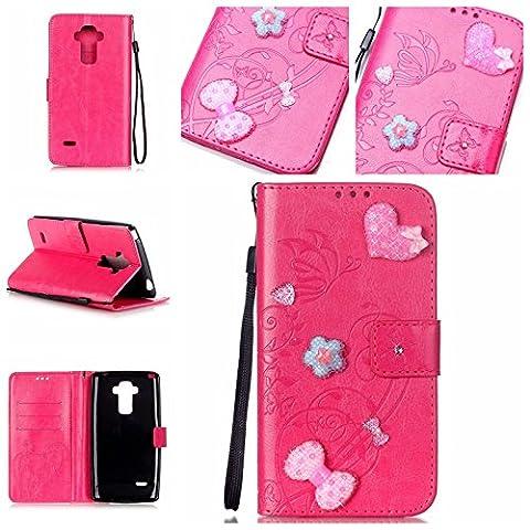 Meet de pour LG G4 Stylus LS770 Folio Case ,Wallet flip étui en cuir / Pouch / Case / Holster / Wallet / Case, (série gaufré) Amour Bow forage autocollants décorés pour LG G4 Stylus LS770 PU Housse / en cuir Wallet Style de couverture de cas Coque pour téléphone portable Étui Porte-monnaie en cuir étui de téléphone pour LG G4 Stylus LS770 - Rose Rouge