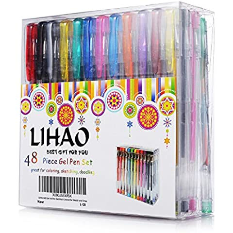 LIHAO Set de 48 Bolígrafos Plumas de Tinta Gel Pens (48 colores)