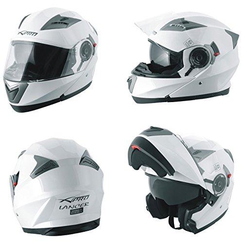 Casco Modulare Apribile Moto Touring Sport Visiera Parasole Bianco M