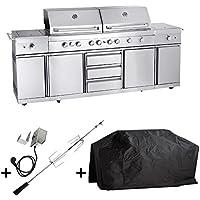 Barbacoa de gas para exterior de cocina EXTREM – Juego con pincho para barbacoa y funda protectora contra la intemperie