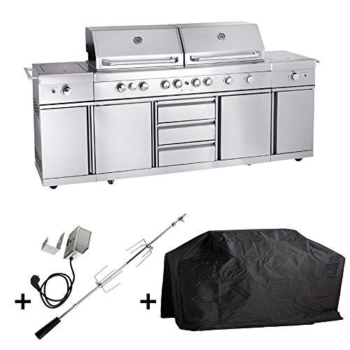 Allgrill Gasgrill Outdoorküche EXTREM – Set mit Grillspieß und Wetterschutzhülle