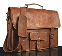 * CLASSYDESIGNS *Leather Unisex 100% Genuine Real Leather Messenger Bag for Laptop Briefcase Satchel ...