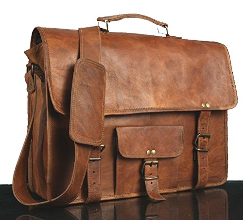 - 51PtZi2gWLL - * CLASSYDESIGNS *Leather Unisex 100% Genuine Real Leather Messenger Bag for Laptop Briefcase Satchel …