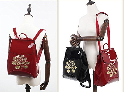 Yan Show Damen Lackleder Schultertaschen Blumenmuster Rucksack Stereotypen Multifunktions Tasche Blau