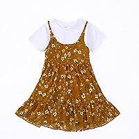 YT Summer Girl T-Shirt Skirt Falda Floral Traje,Caqui,130cm