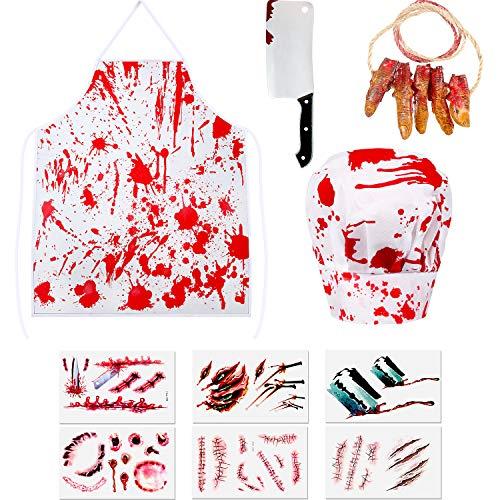 SATINIOR Halloween Blutiger Metzger Kostüm Satz Blut