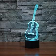 Naveed Arts Acrylic 3D Illusion LED Lamp Guitar with IR Remote and USB Cable for Decoration, 87x37mm(7 Colour Changing, Multicolour,TL056)