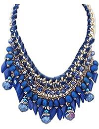 Souarts Femme Collier Pendentif Plastron Chaine de la Clavicule Multicouche Style Ethnique 60cm