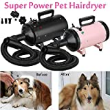 Pet Hair Dryer Cat Dog Grooming Shower Bath Blower Dryer Blaster 2 Wind Speed Safety Heater Low Noise 2.5M Flexible Hose with 3 Nozzles 2800W Pink
