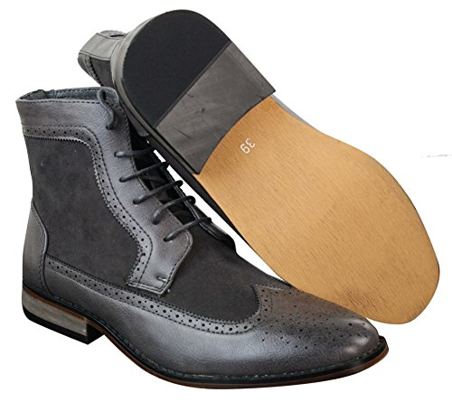 Bottines homme style Chelsea Brogue hauteur cheville cuir et simili look chic décontracté avec lacets Gris