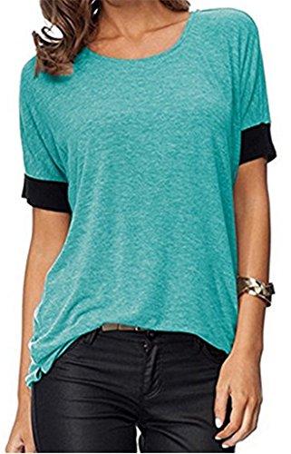 ELFIN Frauen Damen T-Shirt Rundhals Kurzarm Ladies Sommer Casual Oberteil Locker Bluse Tops - Weiches Material - Sehr Angenehm zu Tragen (SV6PO6JR) (Weiche Shorts Womens)