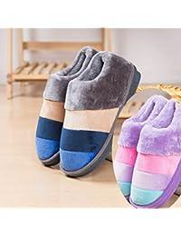 LaxBa Stoßdämpfung Atmungsaktiv und Weichen Schlafzimmer Indoor Winter Hausschuhe für Männer und Frauen lila 42-43 passt 41-42 We154eB