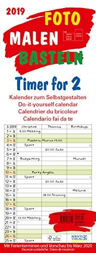 Foto-Malen-Basteln Timer for 2 2019: Familienplaner mit 3 Spalten als Foto-kalender zum Selbstgestalten. Familienkalender mit Ferienterminen und festem Batelpapier.