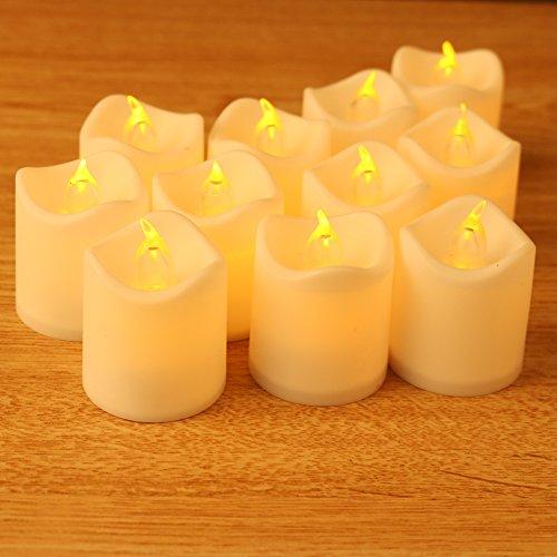 Flammenlose Kerzen Set von 24Elektrische Teelichter LED Akku Kerzen Rauchfreie Kerzen für Home Dinner Hochzeit Party Decor von Mishen